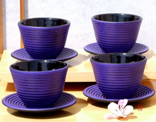 Cast iron purple Zen Ripple tea cup and round coaster X4